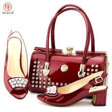 Wino czerwone włoskie panie z pasująca torba wysokie obcasy afrykańskie buty i torebka w zestawie na imprezę i wesele buty nigeryjskie i torby