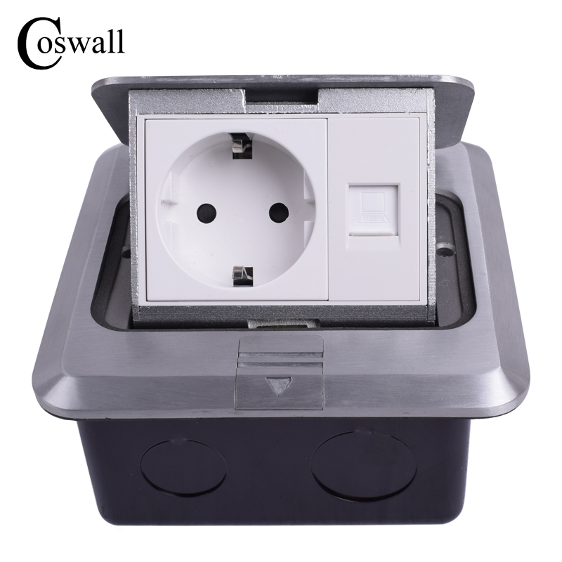 Coswall All Aluminum Silver Panel EU Standard Pop Up Floor Socket Electrical Outlet With RJ45 Internet Computer Port manufacturer all aluminum panel eu standard pop up floor socket single power outlet dual usb port page 2