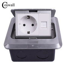 Coswall All Aluminum Silver Panel EU Standard Pop Up Floor Socket Electrical Outlet With RJ45 Internet Computer Port