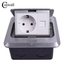 Coswall Alle Aluminium Zilver Panel Eu Standaard Pop Up Floor Socket Stopcontact Met RJ45 Internet Computer Poort