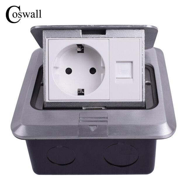Coswall tout en aluminium argent panneau ue Standard Pop Up prise de sol prise électrique avec Port dordinateur Internet RJ45