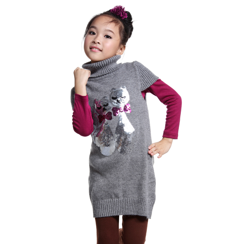 012e7798ca7 2013 Winter Girls Fashion Chrismas Sweaters Girl Sweater Dress Turtleneck  Cardigan For Girls Colorful Long Knitted Outerwear