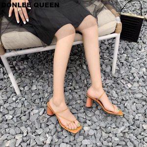 Image 3 - Sandalias de tacón alto con punta abierta para mujer, Sandalias de tacón de bloque de madera, elegantes, para fiesta, verano, 2019