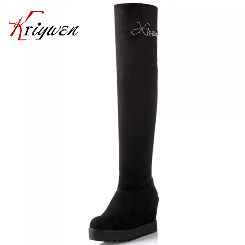 2015 New Womens Knee High Boots Platform Wedge High Heels Punk Goth Creeper Shoes black flock solid fold lady thigh boots