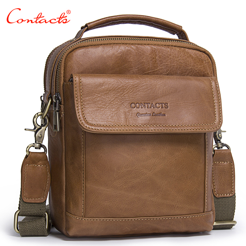 CONTACT'S 2017 New Fashion Genuine Leather Men Shoulder Bags handbag High Quality Casual Messenger Bag Business Men's Travel Bag safebet brand crocodile pattern fashion men shoulder bags high quality pu leather casual messenger bag business men s travel bag
