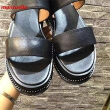 Mancuello Black Ankle Strap Sandals Women Genuine Leather Summer Shoes Crystal Zapatos Mujer Fashion Sandalias Plataforma 2017