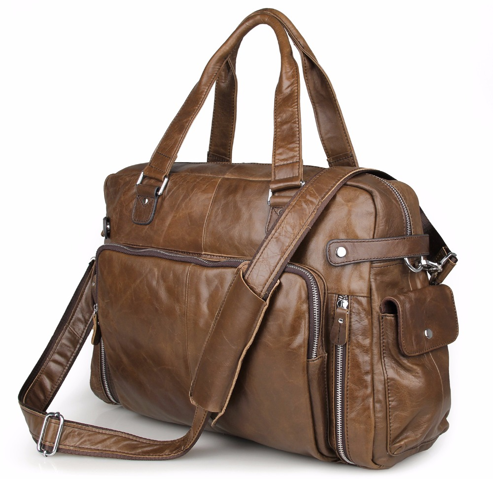 Augus 2017 Cow Leather 17 Inch Laptop Men's Bag Classic Leather Hand Bag Big Capacity Tavel Bag Shoulder Bag 7288C/7288Q 247 classic leather