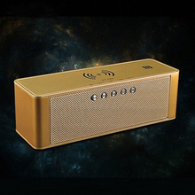 Portable Bluetooth Speaker Qi Wireless Charger Stereo Sound Speaker Time Displayer TF Card NFC Built-in Mic For iphone X Samsung