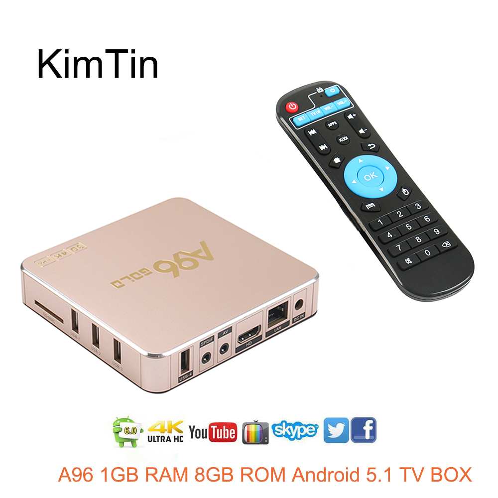KimTin A96 Android 5.1 TV Box 1G/ 8G WiFi UHD 4K * 2K RK3229 Quad Core 32 Bits Mini PC Kodi / DLNA AirPlayer Smart Media Player himedia m3 quad core android tv box home tv network player 3d 4k uhd set top box free shipping