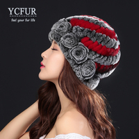 YCFUR Fashion Women's Hats Caps Winter Handmade Knitted Real Rex Rabbit Fur Beanies Hats Female Soft Warm Cap For Lady