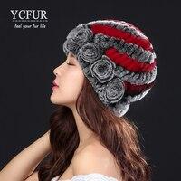 YCFUR Moda Mujeres Real Rex Rabbit Fur Sombreros Gorras de Invierno de Punto Hecho A Mano Gorros Sombreros Femeninos Casquillo Caliente Suave Para señora