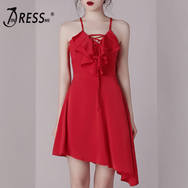 INDRESSME New 2019 Elegant Sexy Lace Up Spaghetti Strap Asymmetrical Dress Mini Length Ruffle A Line Lady Party Dress Vestidos in Dresses from Women 39 s Clothing