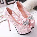 Sexy Hollow out Lace Flower Mesh Rhinestone peep Toe High Heels Shoes Thin Heels peep toe Pumps Woman Wedding Party Shoes