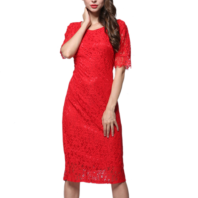 Short sleeve red lace dress