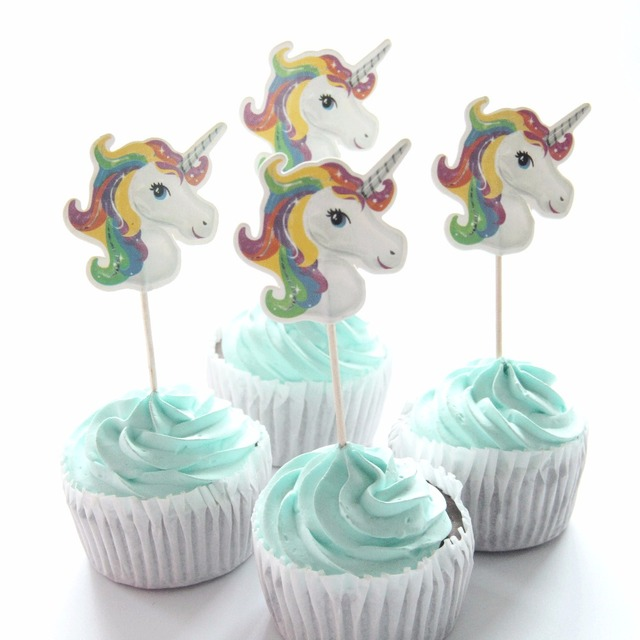 24 Pcs Lot Color Unicorn Cupcake Topper Wedding 1St Birthday Party Supplies Baby Shower Cake