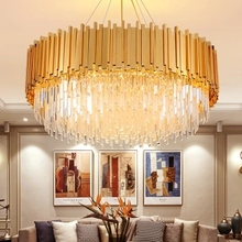 American Gold Crystal Chandelier LED Lamps Luxury Crystal Chandeliers Lighting Fixture Hotel Lobby Dining Room Living Room Lamps retro triangle iron chandeliers creative american rural lighting lamps living room corridor clothing store chandelier
