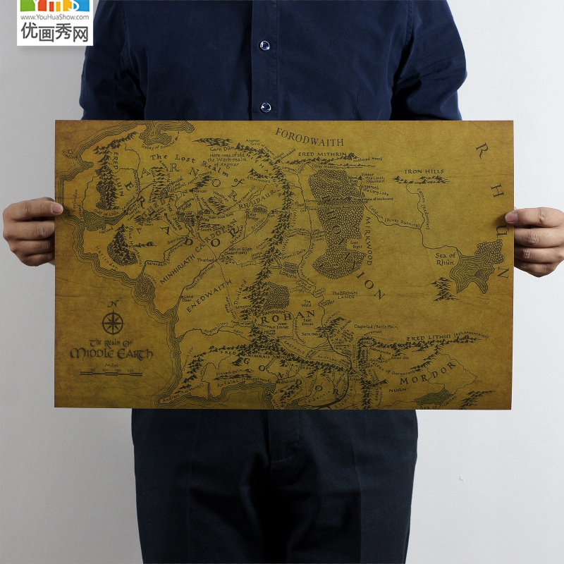 MIDDLE EARTH MAP On The Lord of the Rings Vintage Movie Paper Poster House Decoration Wa ...