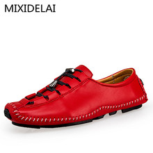 MIXIDELAI Brand 2019 New Soft Leather Breathable Men's Flats Shoes Slip-on Mocassins Men Loafers Men's Casual Shoes Size 37-44