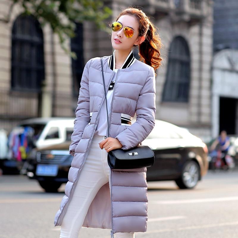 2016 Winter jacket new elegant padded coat collar female knee long thick cotton padded jacket coat slim women D037 l