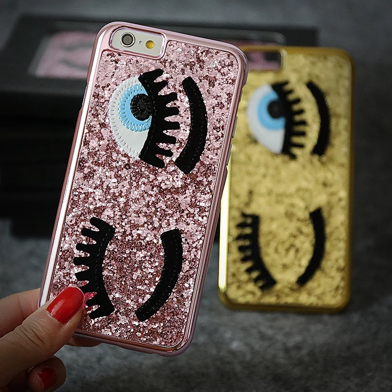 new product e8602 fb575 US $3.89 | Glitter Bling Chiara Ferragni Miss Gossip Blinking Wink Big Eyes  Hard Case Cover For iPhone 6 6S 6S Plus-in Fitted Cases from Cellphones &  ...