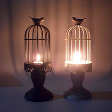 PINNY Romantic Bird Cage Iron Candles Stand European Classical Metal Candle Candlesticks Lanterns For Decoration
