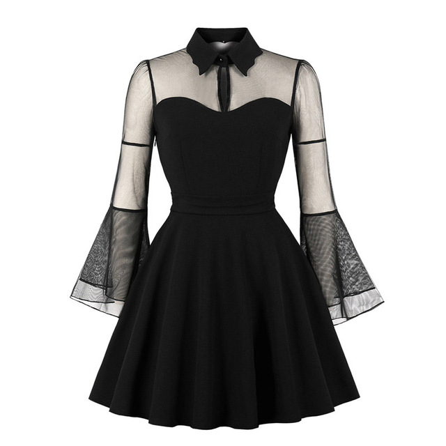 ada2a26260d Birthday Dress Women Elegant Black Mesh Patchwork Flare Sleeve Vintage  1920s Mom Cocktail Party Plus Size Pleated Skater Dress -in Dresses from  Women s ...