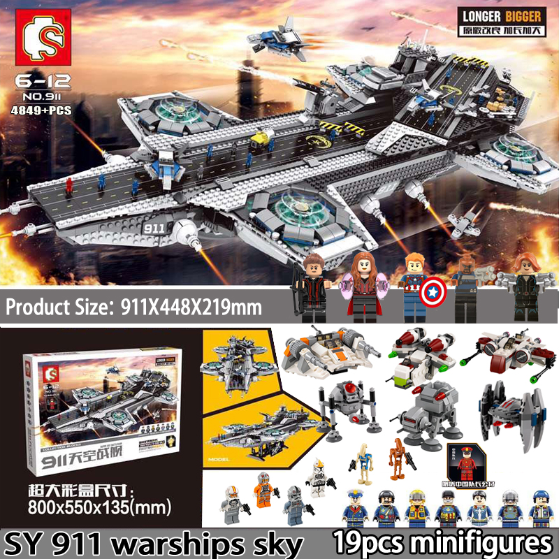 цена на FreeShipping DHL 4849pcs SY 911 VS 76042 Superheroes The Shield Model Building Blocks Toys Compatible Star Wars Avengers figures