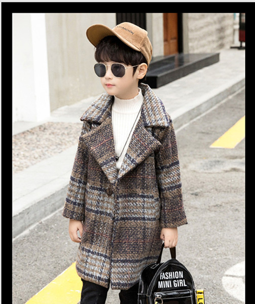 New Autumn Winter Boys Long Coat Children Baby Unisex Fashion Plaid Design Double Breasted Woolen Coat Turn-Down Collar Overcoat