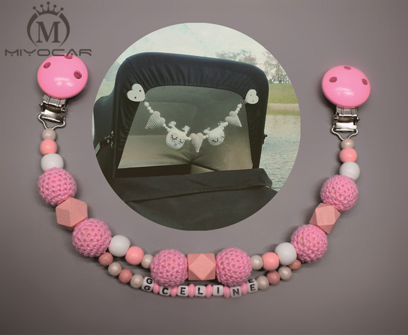 Personalised --Any name lovely pink wooden beads baby pram charm stroller toy Baby Rattles Mobiles toy rattle attached to bedBaby & Toddler Toys