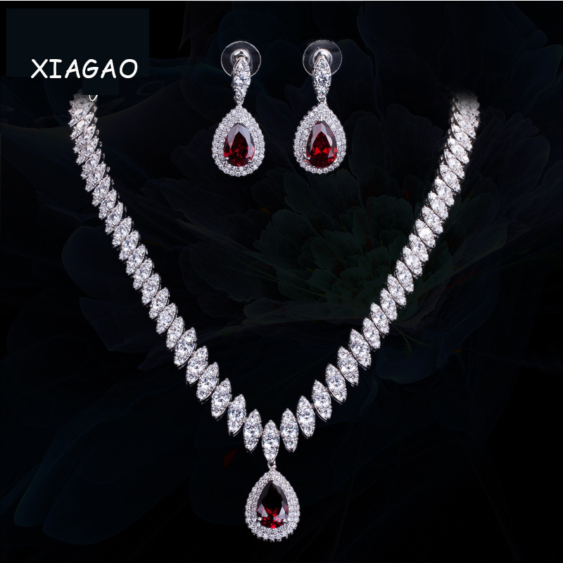 XIAGAO Women Elegant and Luxury White Water Drop Shape Cubic Zircon Earrings Necklace Wedding Jewelry Set directly factory price commercial electric double head egg waffle maker for round waffle and rectangle waffle