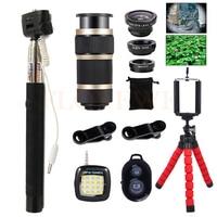 Mobile Lens 8X Zoom Telephoto Lentes Tripod Selfie Lamp Wide Angle Macro Fish Eye Lenses For