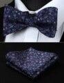 Partido Bolso Quadrado Clássico Casamento BF704PS Azul Marinho Roxo Floral Homens Gravata Borboleta de Seda Auto Gravata Gravata conjunto lenço