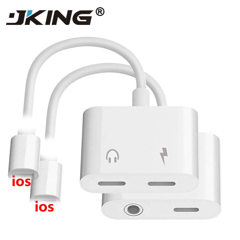2 In 1 Audio Adapter Charging Earphone Cable For IPhone 7 8 Plus X Aux Jack Headset For Lightning 3.5 Mm To Headphone Splitter