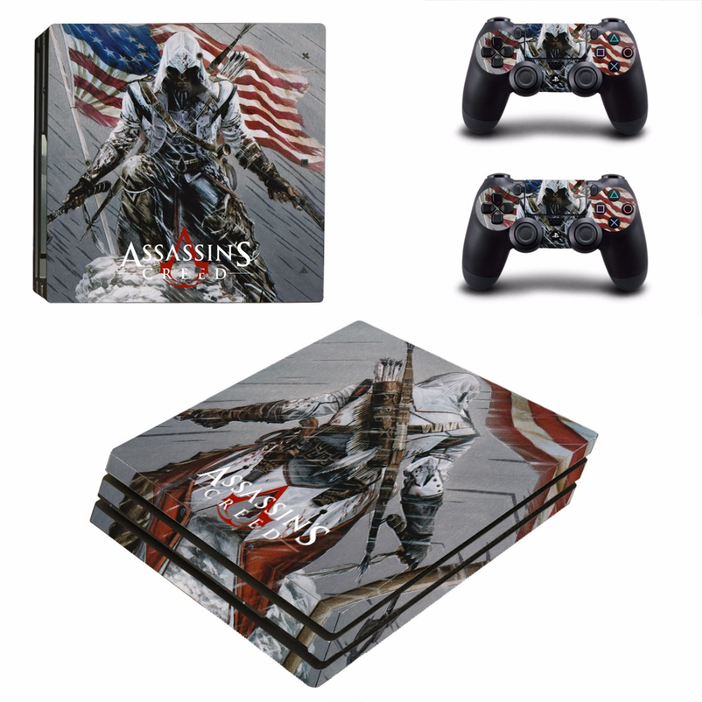 Assassins Cread PS4 Pro Skin Sticker Decal For Sony PS4 PlayStation 4 Pro Console and 2 Controllers Stickers