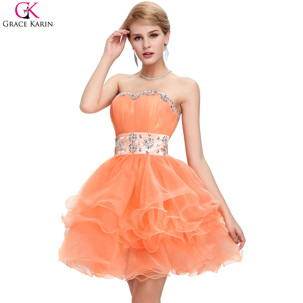 Orange special occasion dresses reviews online shopping orange cheap bridesmaid dresses under 50 grace karin lace up strapless voile beaded mini formal gowns orange special occasion dresses ombrellifo Image collections