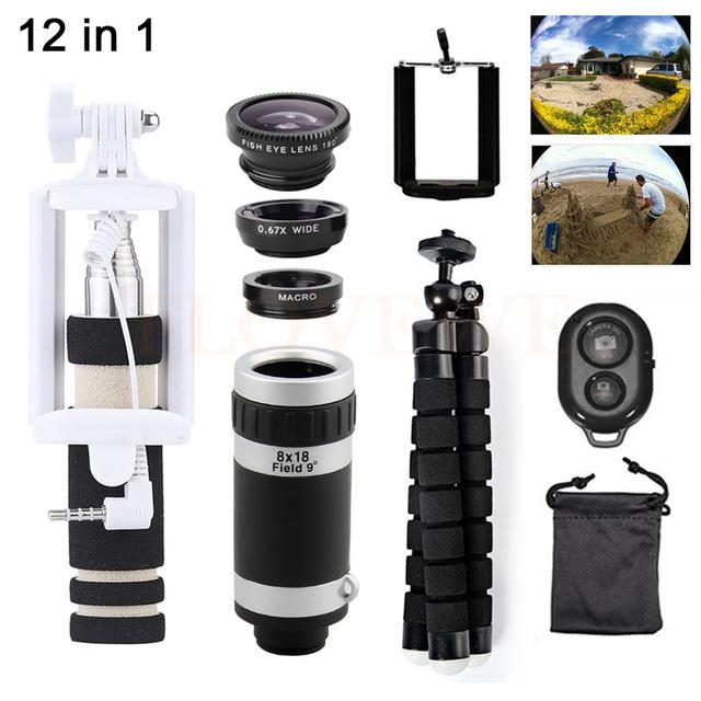 Teléfono kit de lentes 8x zoom teleobjetivo para iphone 7 6 5S huawei lg telescopio microscopio ojo de pez gran angular lente macro trípode