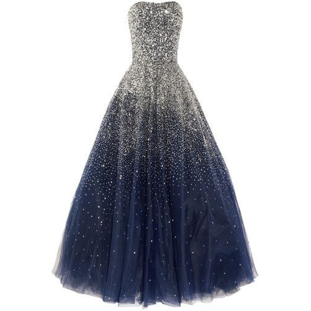 Puffy 2019 Long Prom Dresses Vestido Debutante Vestidos De 15 Anos Sweet 16 Dresses Ball Royer Blue Beaded Quinceanera Dresses