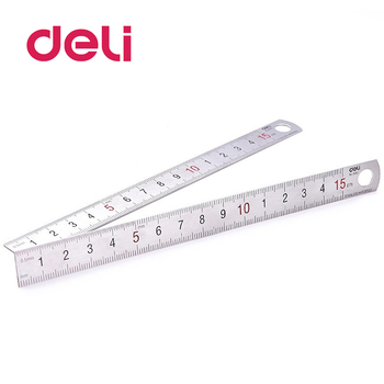 Deli 1pcs steel ruler centimeter scale stainless iron 15 cm 6 inch silver Stationery Drafting Supplies 8462 - discount item  56% OFF Drafting Supplies