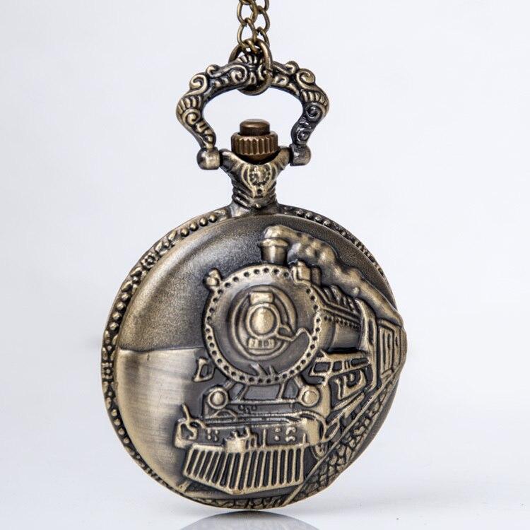 Nova Frente Trem Locomotiva de Bronze Do Vintage Colar Pingente Quartzo  Relógio de Bolso PB131 7ff33b7196