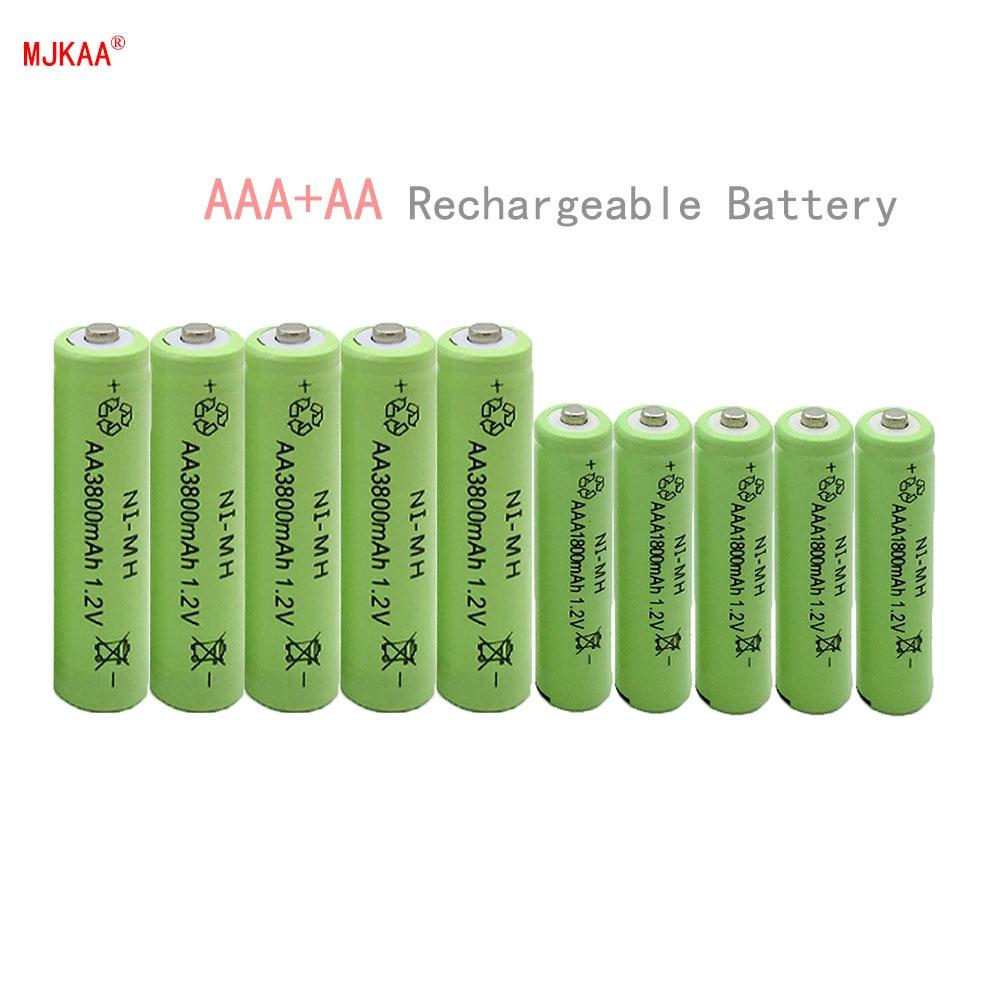10 pz AA 3800 mAh Ni-Mh Batterie Ricaricabili + 10 pz AAA 1800 mAh Batterie Ricaricabili