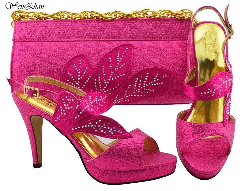 Frauen Party Schuhe und Tasche Set Verziert mit blatt Verkäufe In Frauen Splitter Passenden Schuhe und Tasche Set hohe ferse schuh WENZHAN B86 12 - 2