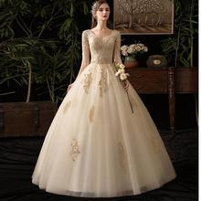Champán V cuello media manga De 2019 nueva boda Vestido Apliques De encaje personalizado De talla grande Vestido De novia De L