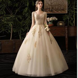 Image 1 - Champagne V Neck Half Sleeve Tassel 2019 New Wedding Dress Lace Applique Custom Made Plus Size Bridal Gown Vestido De Noiva L