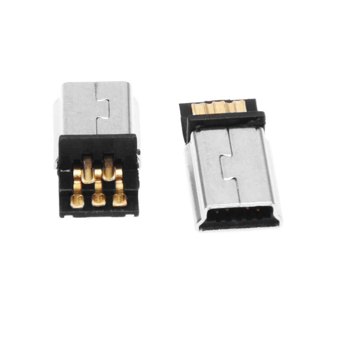 DSHA nowy gorący 10 sztuk Mini USB 5 Pin męski wtyk złącze smt diy srebrny Tone ciemnoszary