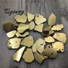 حرة الذهبي كريستال شريحة التيتانيوم قلادة من الكوارتز الخرز ، شقة صفعة الكوارتز حجر الخرز لصنع المجوهرات MY0112