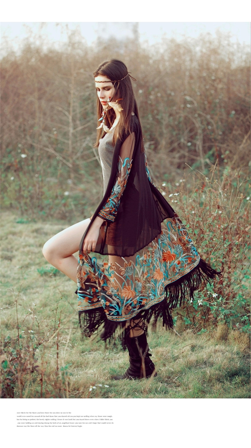 2a580123bb US $16.81 39% OFF| Kimono Cardigan 2018 Boho Holiday Cardigan Women Gypsy  Embroidery Tassel Chiffon Sun Protection Clothing Long Beach Blusas-in ...