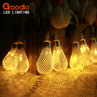 GOODIA 2015 New 4 3M 40pcs Silver Metal Water Drop LED String Light AA Battery