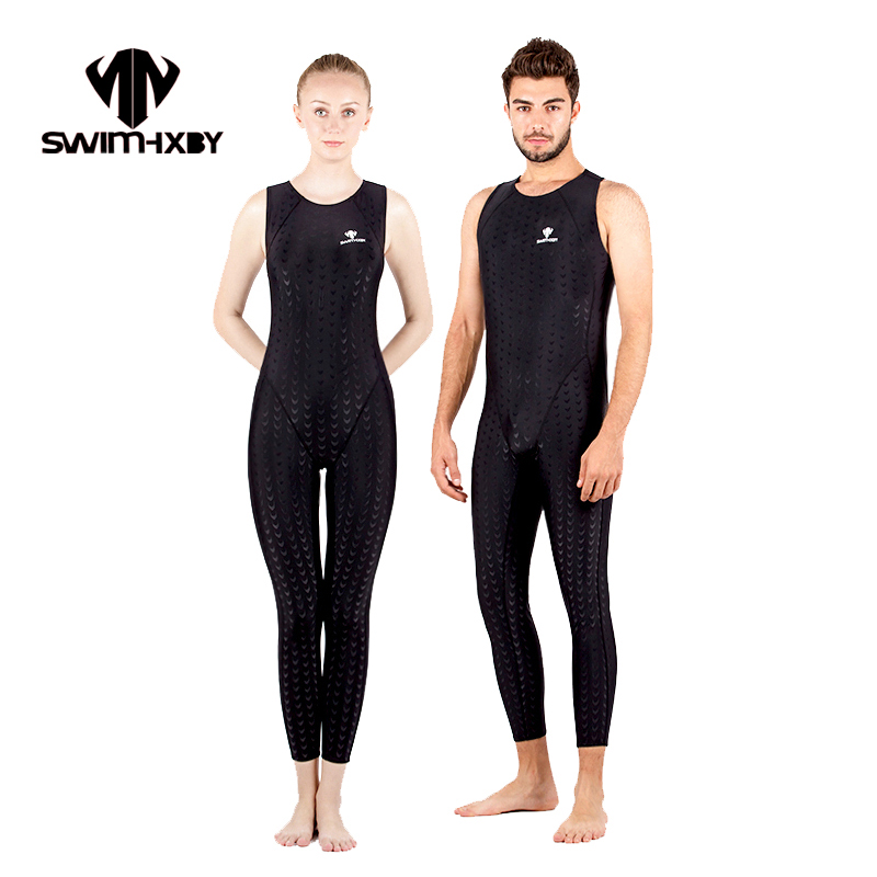 HXBY Black Sleeveless Racing Competitive Swimming Suit For Women Swimsuit One Piece Swimwear Men Swim Suit