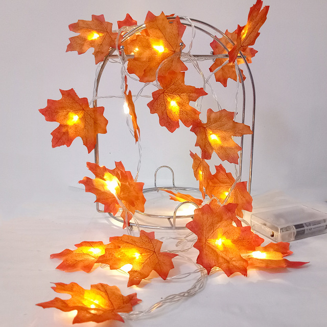 Novelty handmade Maple Leaf LED String Lights, AA Battery fariy holiday light string led, Wedding Event garland leaf decoration