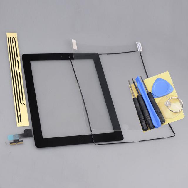 Panel frontal negro pantalla táctil de cristal digitalizador reemplazo asamblea casera del botón + marco para ipad 2 2nd envío gratis
